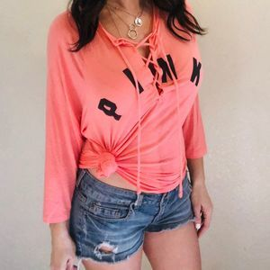 Victoria Secret Pink lace up relaxed T shirt XS